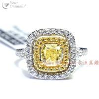 YRCD002012 , GIA證書1.04ct Cushion cut 黃鑽, 18K鑽石戒指  Diamond Ring