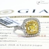 YRCD002012 , GIA證書1.04ct Cushion cut 黃鑽, 18K鑽石戒指  Diamond Ring