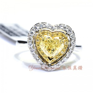 YRCD002013 , GIA證書1.00ct 心形黃鑽, 18K鑽石戒指 Diamond Ring