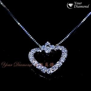 << 日本製 >> YPLD-JP01062726, PT鉑金心形鑽石吊墜 ( 送PT鉑金項鍊 )  << 附日本證書 >>