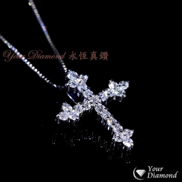 << 日本製 >> YPLD-JP01062766, PT鉑金十字架鑽石吊墜 ( 送PT鉑金項鍊 )  << 附日本證書 >>